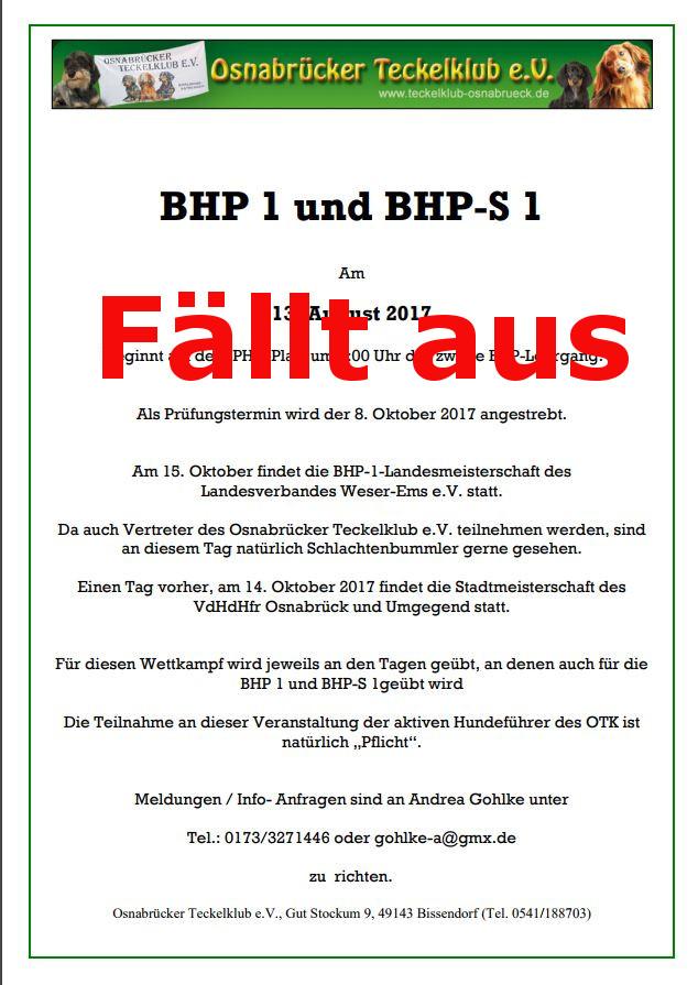 BHP 1 und BHP-S 1 fällt aus