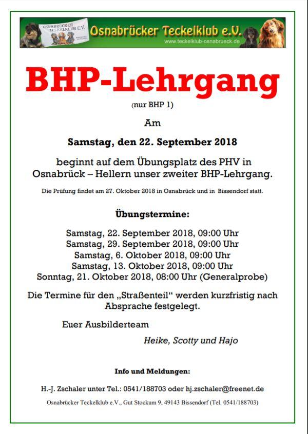 Zusätzlicher BHP Lehrgang im Herbst