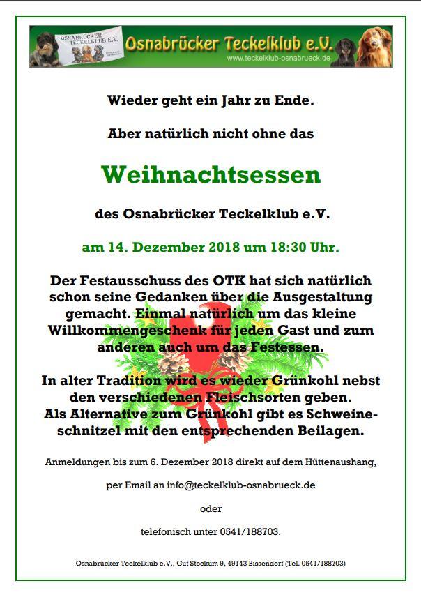 Weihnachtsfeier Osnabrück.Weihnachtsfeier 2018 Osnabrücker Teckelklub E V