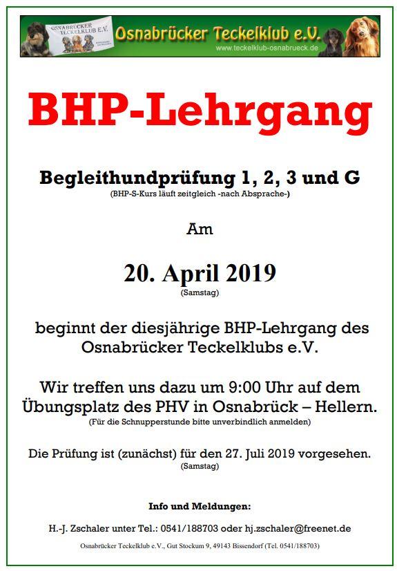 Neuer BHP-Lehrgang