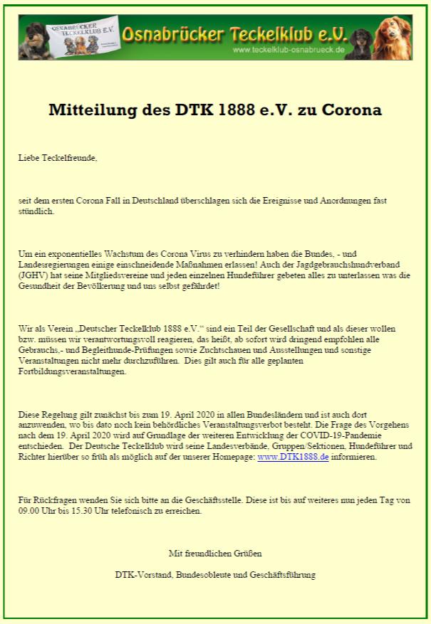 Mitteilung des DTK zu Corona