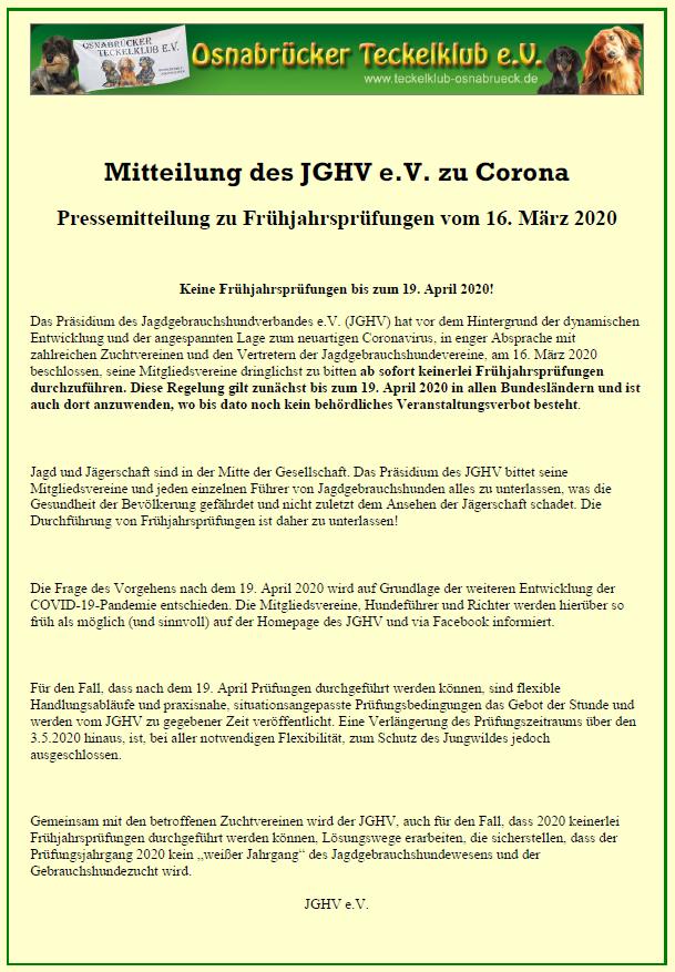 Mitteilung des JGHV zu Corona