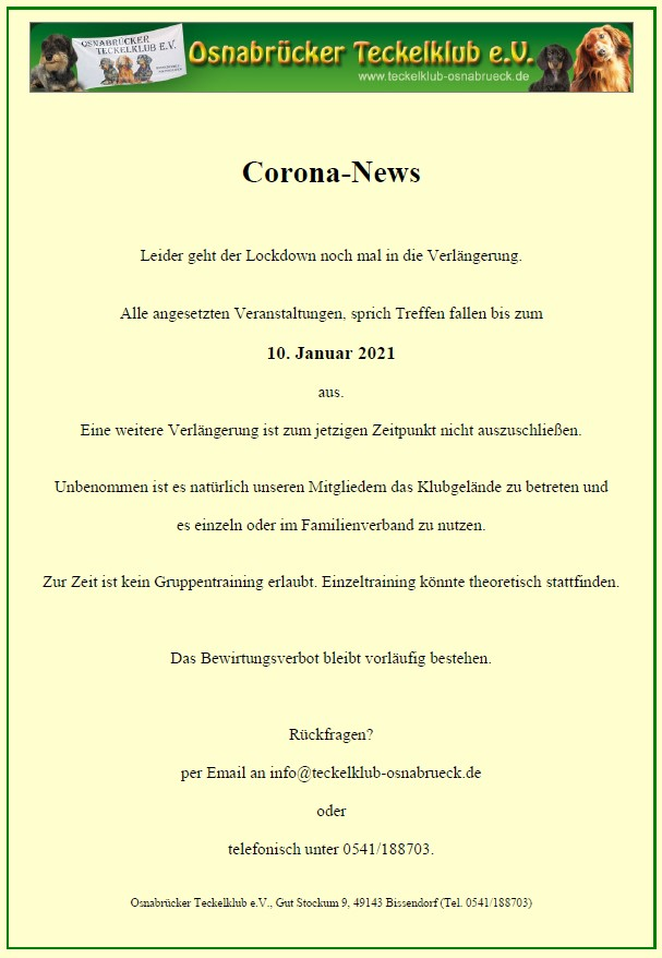 Corana Update - Restriktionen